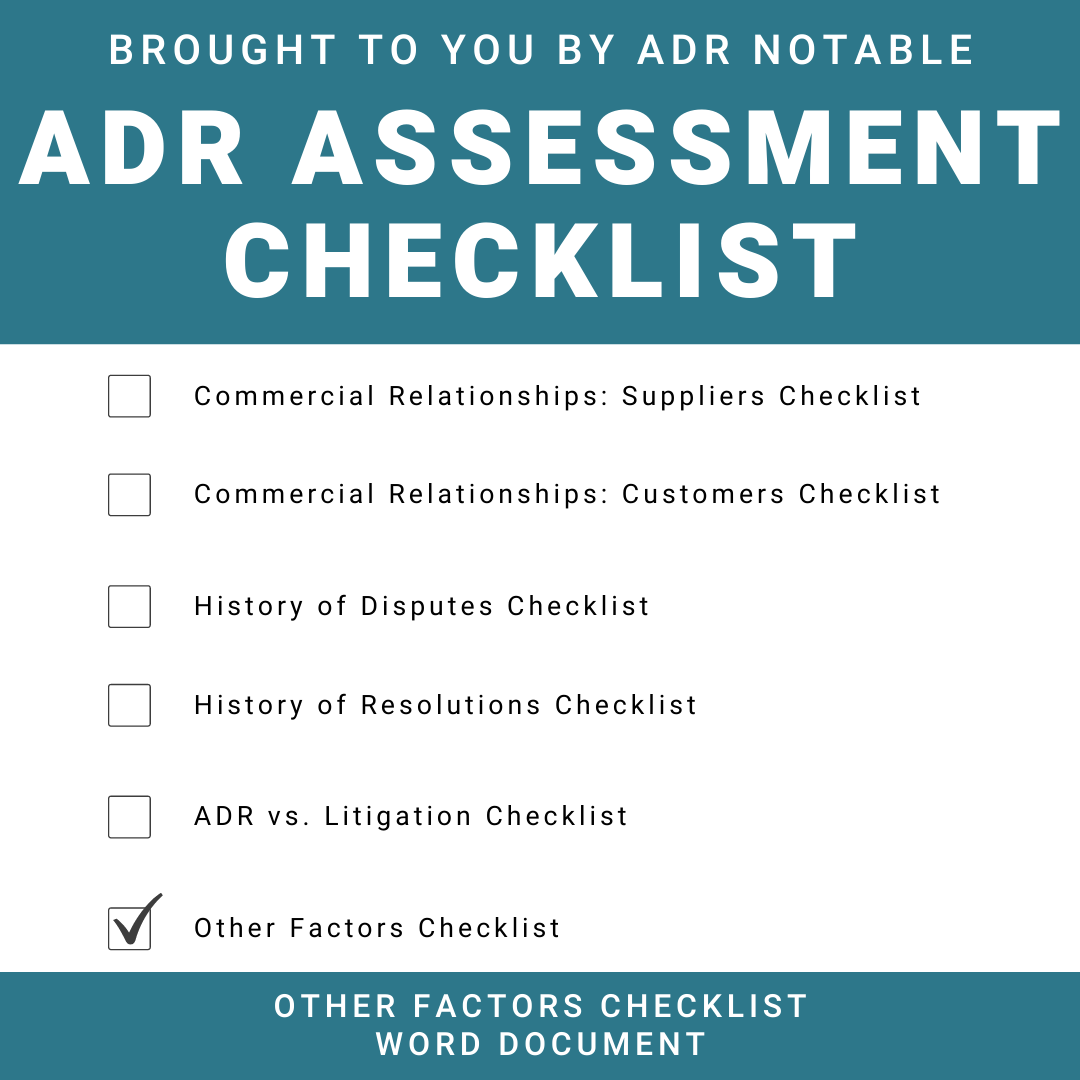 ADR Assessment Checklist - Other Factors Word