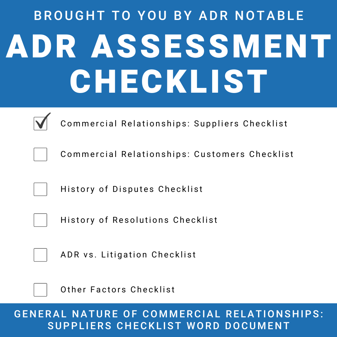 ADR Assessment Checklist - General Nature of Commercial Relationships - Suppliers