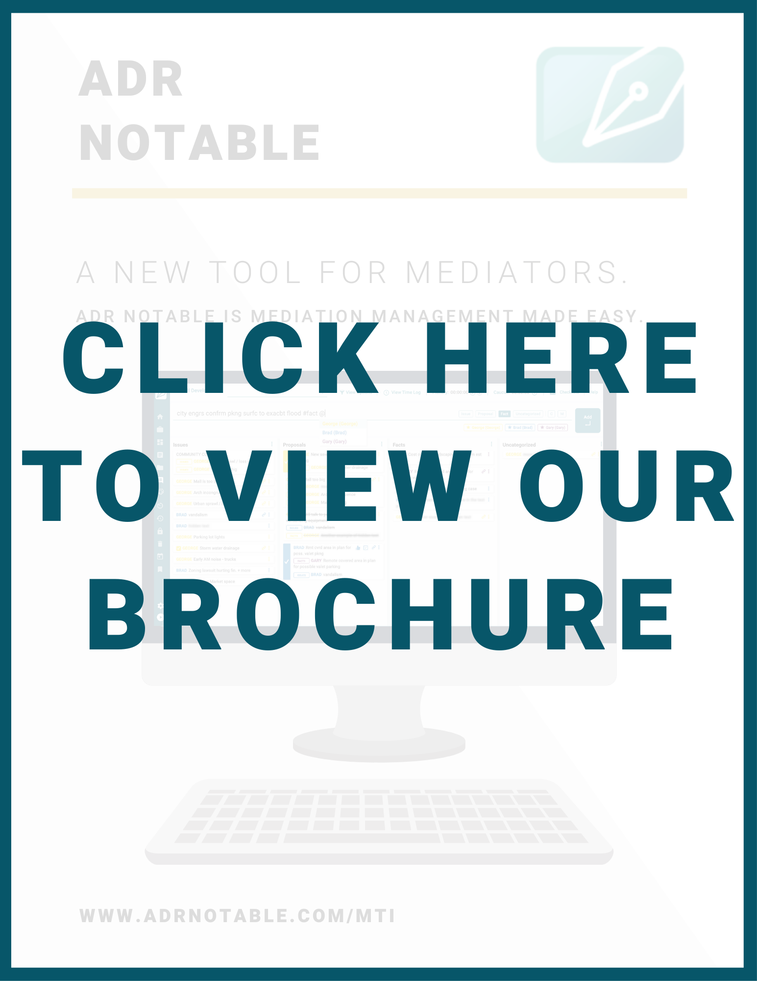 Mediation Training Institute Conference - ADR Notable brochure