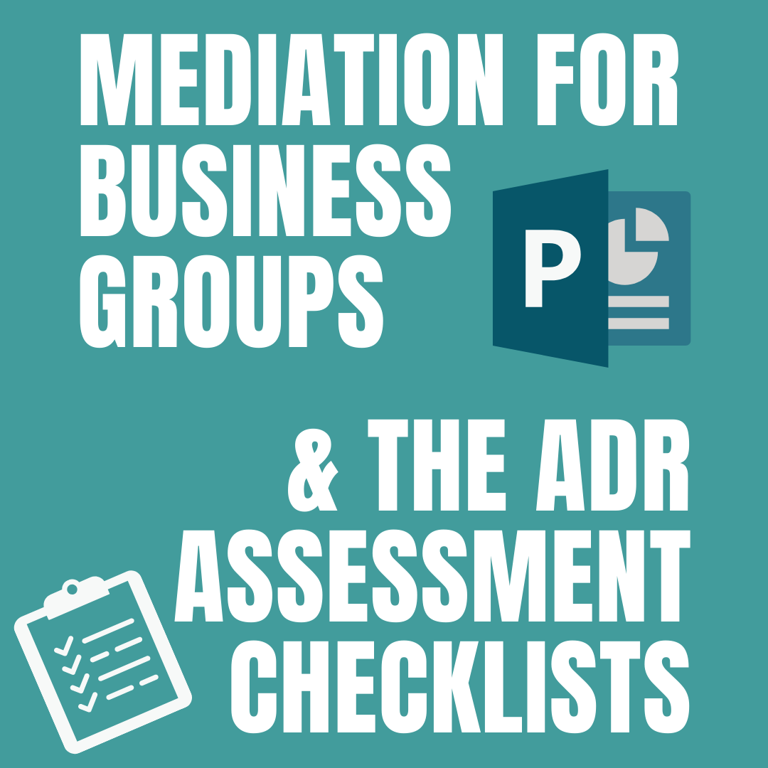Mediation for Business Groups and ADR Assessment Checklists image