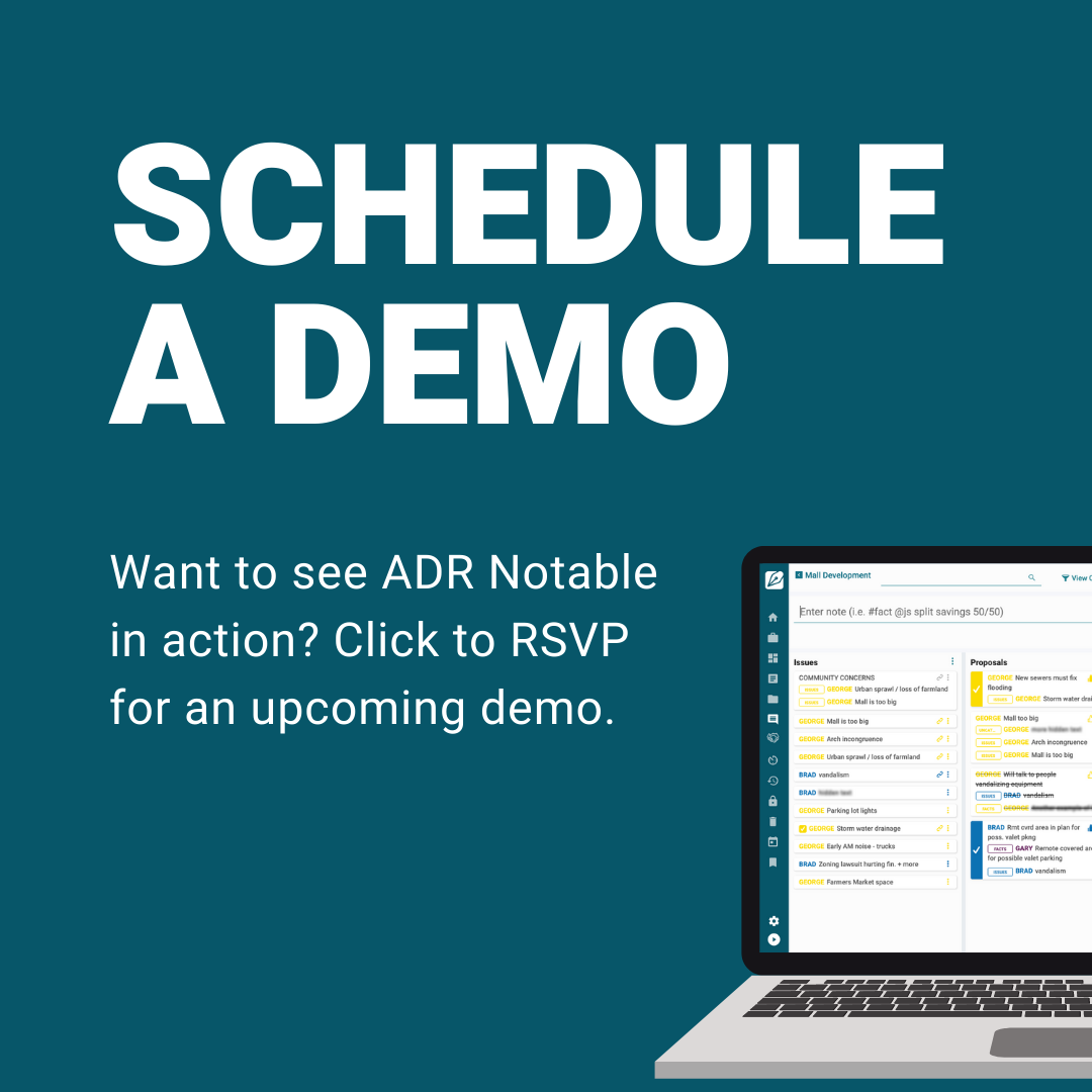 Schedule a demo with ADR Notable